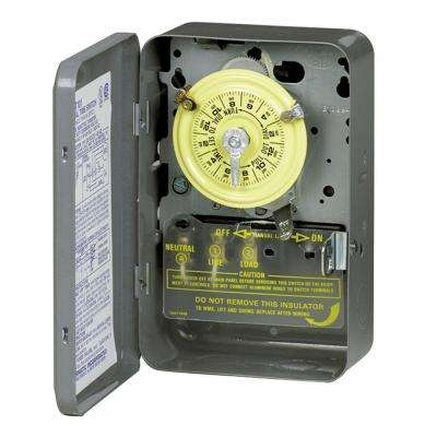 T102 40 Amp 24-Hour Mechanical Time Switch with Indoor Steel Enclosure - Gray