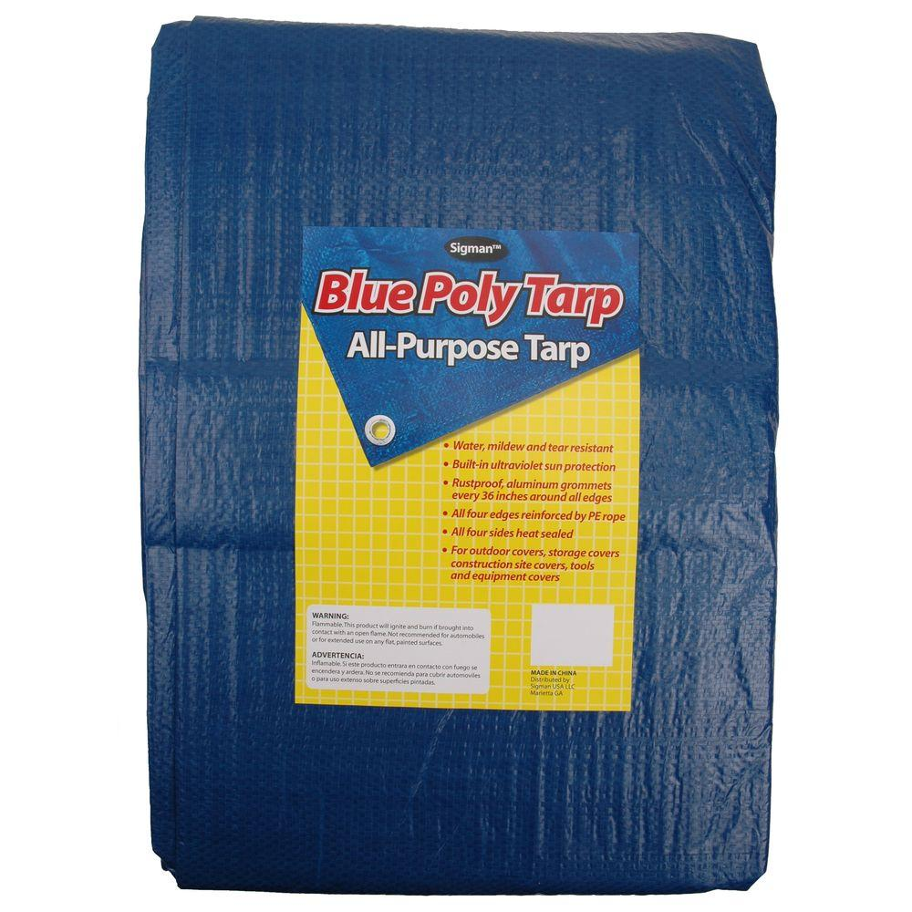 Sigman 11 ft. 6 in. x 35 ft. 8 in. Blue General Purpose Tarp (4-Pack)-DISCONTINUED