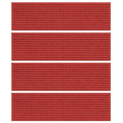Red 8.5 in. x 30 in. Squares Stair Tread (Set of 4)