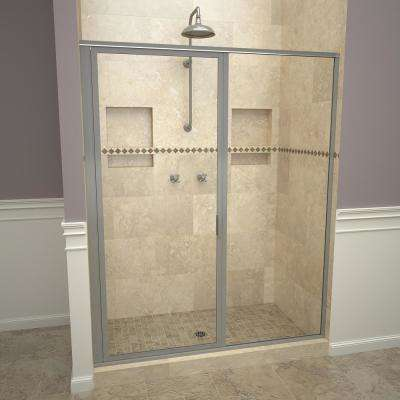 1100 Series 59 in. W x 72-1/8 in. H Framed Swing Shower Door in Brushed Nickel with Pull Handle and Clear Glass