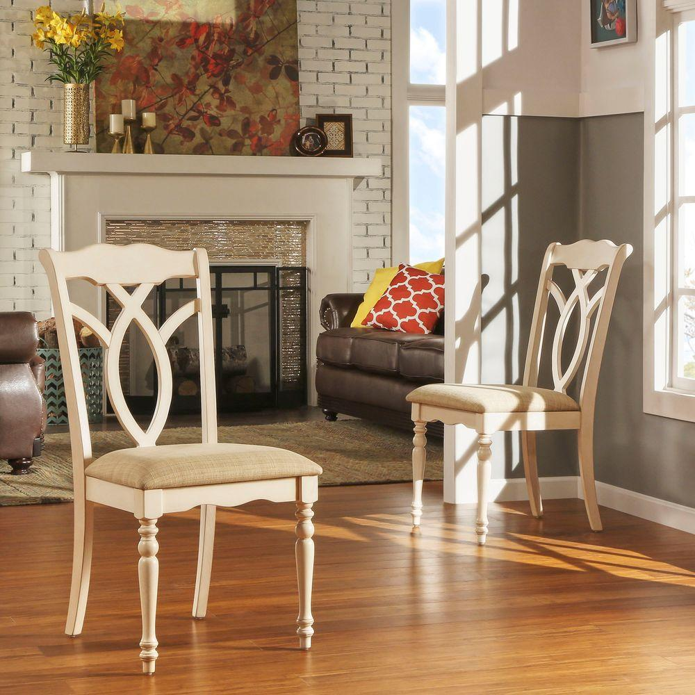 HomeSullivan Rosemont Antique White Wood Dining Chair (Set