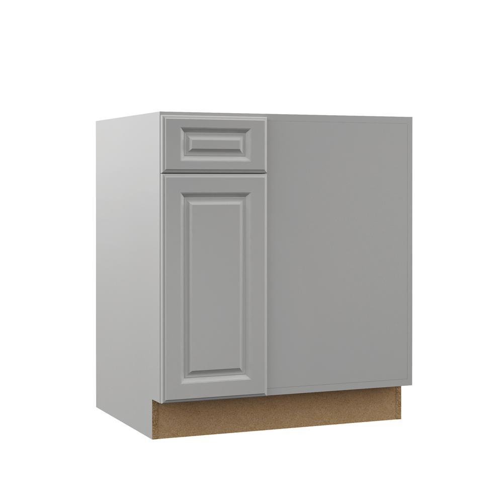 Hampton Bay Designer Series Elgin Assembled 39x34 5x23 75 In Blind Corner Base Kitchen Cabinet In Heron Gray