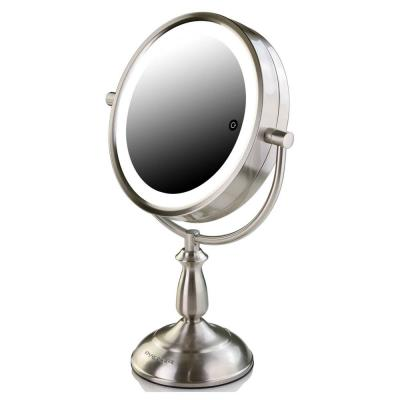 14.4 in. H X 5.5 in. W, Small Nickel Brushed Lighted Framed Modern Makeup Mirror, 1x 5x Magnification
