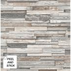 Light Gray and Brown Reclaimed Wood Plank Peel and Stick Wallpaper 30.75 sq. ft.