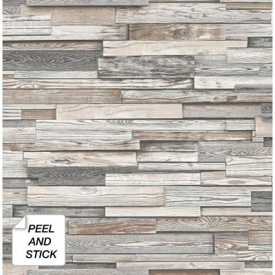 Reclaimed Wood Plank Light Gray & Brown Vinyl Peelable Roll (Covers 30.75 sq. ft.)