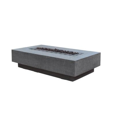 Hampton 56 in. x 32 in. 14 in. Rectangle Concrete Natural Gas Fire Pit Table in Light Gray