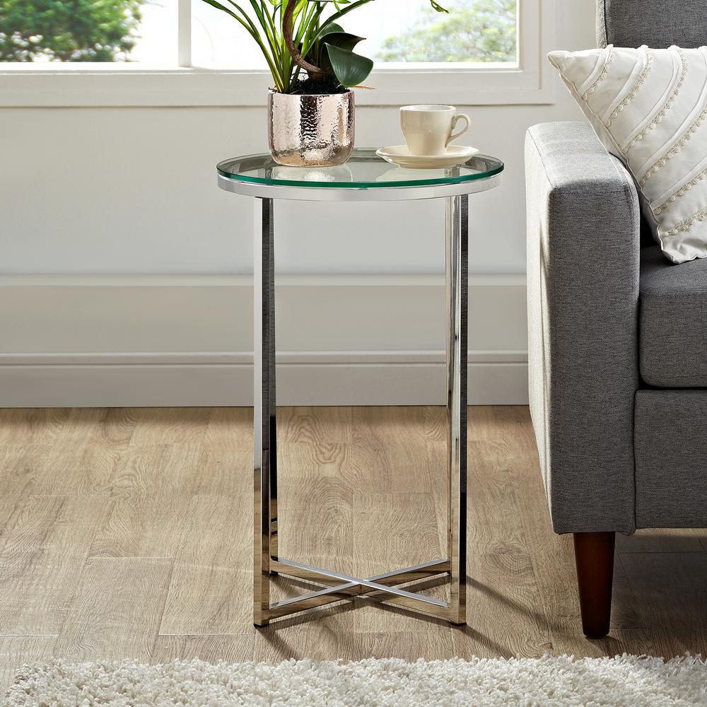 Walker edison furniture company 16 in glass chrome mid century modern x base side table hdf16alstgcr the home depot
