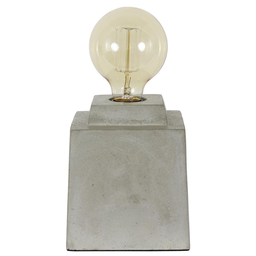 Decor Therapy Enzo 5.5 in. Square Concrete Gray Uplight Lamp