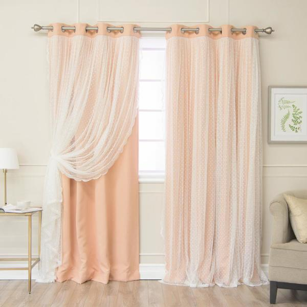 84 in. L Indie Pink Someday Lace Overlay Blackout Curtain Panel  (2-Pack)