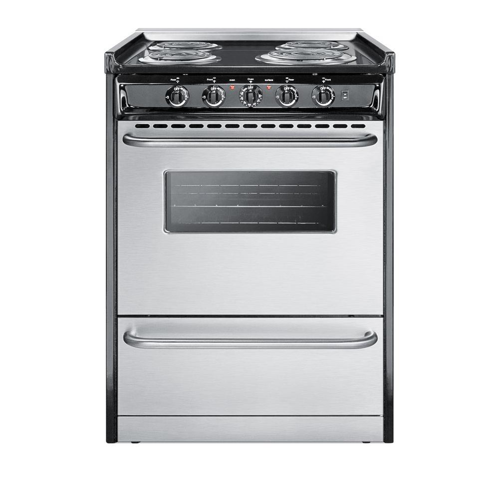 summit appliance 24 in. 2.9 cu. ft. slide-in electric range in