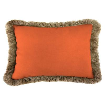 Sunbrella 19 in. x 12 in. Canvas Tuscan Lumbar Outdoor Throw Pillow with Heather Beige Fringe