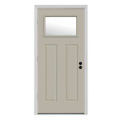 34 in. x 80 in. 1 Lite Craftsman Desert Sand Painted Steel Prehung Right-Hand Outswing Front Door w/Brickmould
