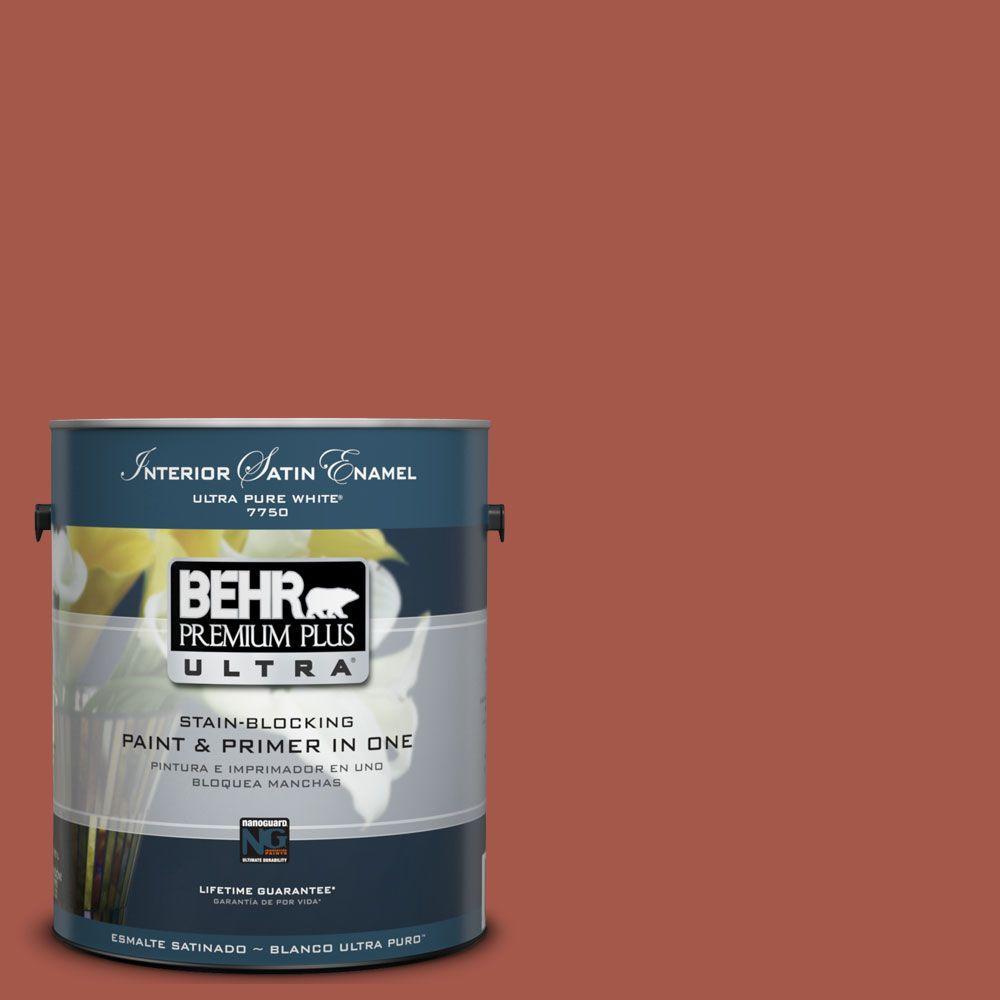 BEHR Premium Plus Ultra 1-Gal. #UL120-20 Cajun Red Interior Satin Enamel Paint