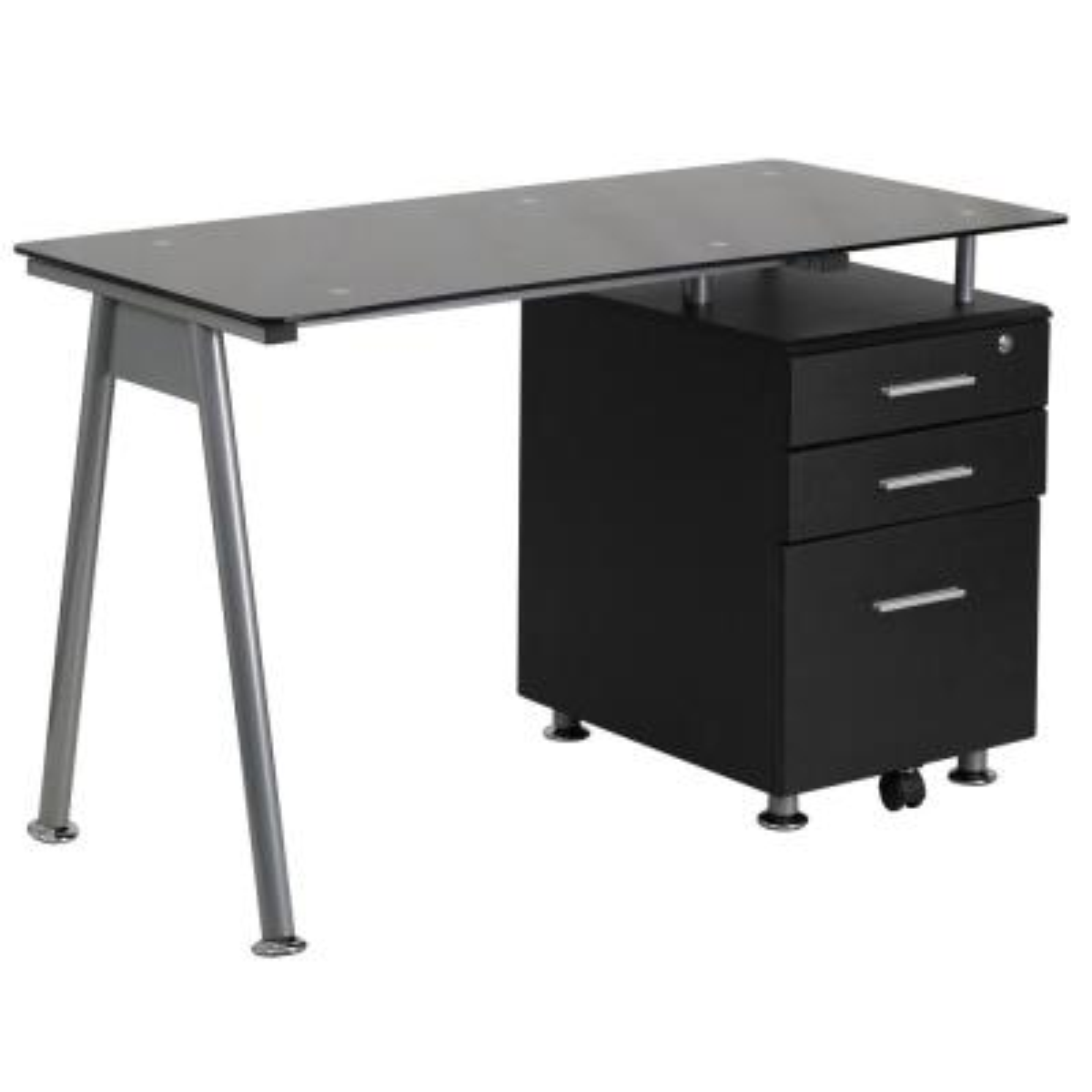 47.25 in. Black Rectangular 3 -Drawer Computer Desk with File Storage