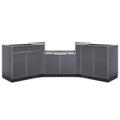 Slate Gray 5-Piece 145.25 in. W x 36.5 in. H x 24 in. D Outdoor Kitchen Cabinet Set without Counter Tops