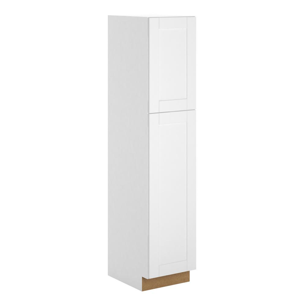 Hampton Bay Princeton Shaker Assembled 18 x 84 x 24 in. Pantry/Utility in Warm White