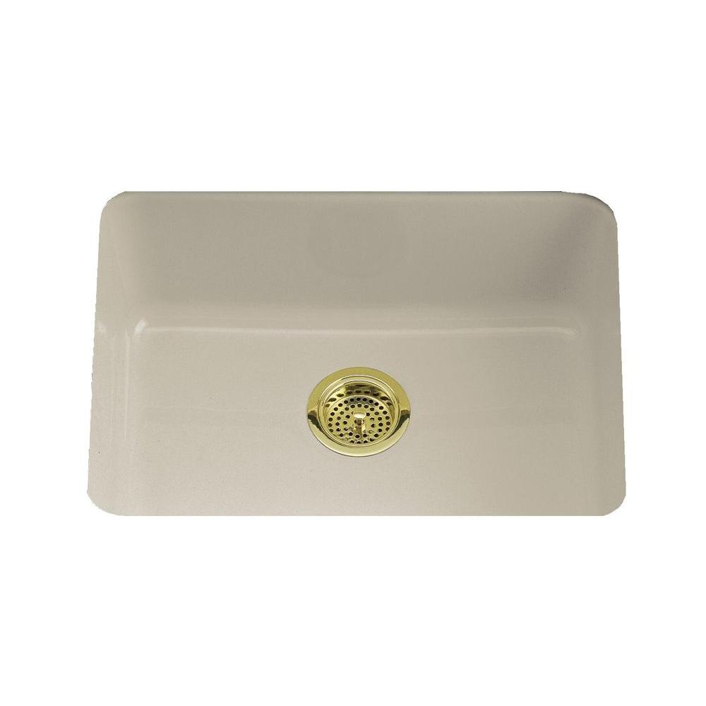 KOHLER Iron/Tones Drop-In/Undermount Cast-Iron 24 in. Single Bowl Kitchen Sink in Sandbar