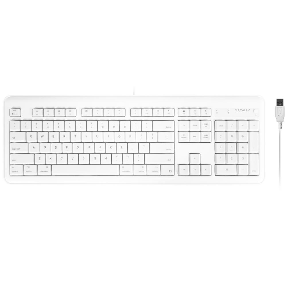 Macally Full Size Usb Wired Computer Keyboard With Built In 2 Port Usb Hub For Mac Os Apple Imac Mac Mini Macbook Pro Air Xkeyhub The Home Depot
