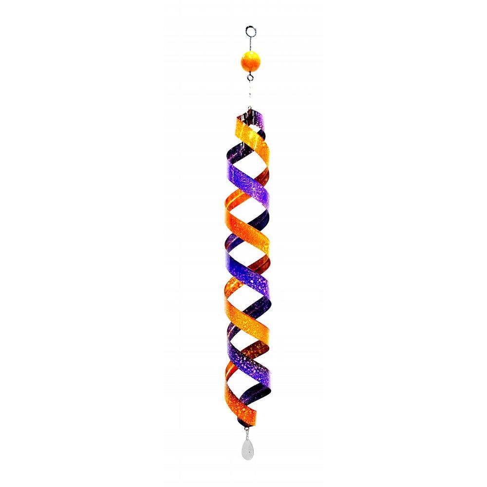 40 in. Purple and Orange Swirl Metal Decor