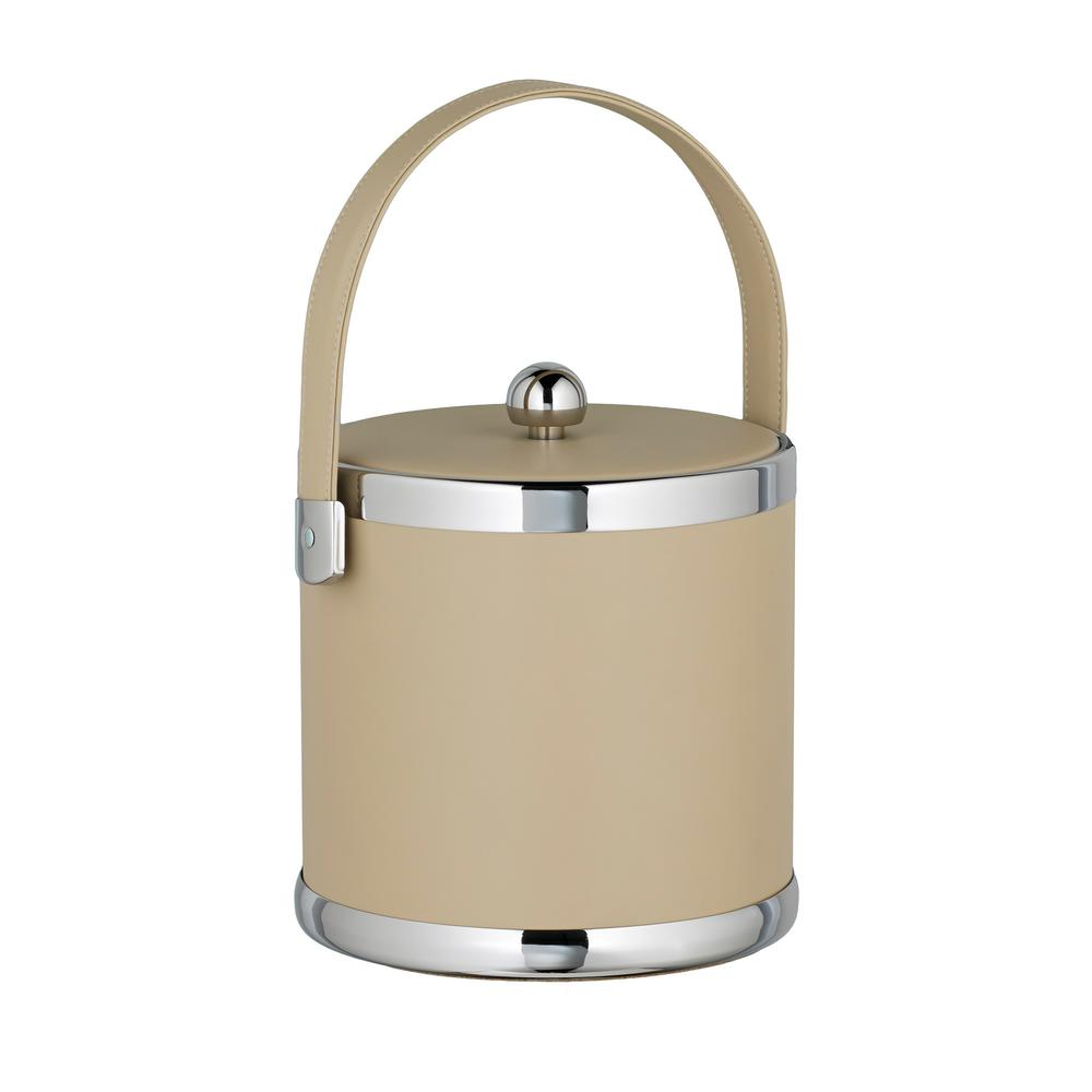 Contempo 3 Qt. Beige Ice Bucket with Stitched Handle and Flat