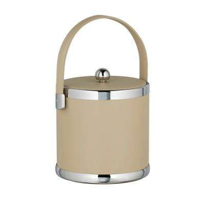 Contempo 3 Qt. Beige Ice Bucket with Stitched Handle and Flat Vinyl Lid