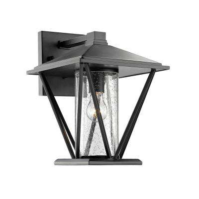 1-Light 14-1/4 in. High Powder Coated Black Outdoor Wall Sconce with Glass Shade
