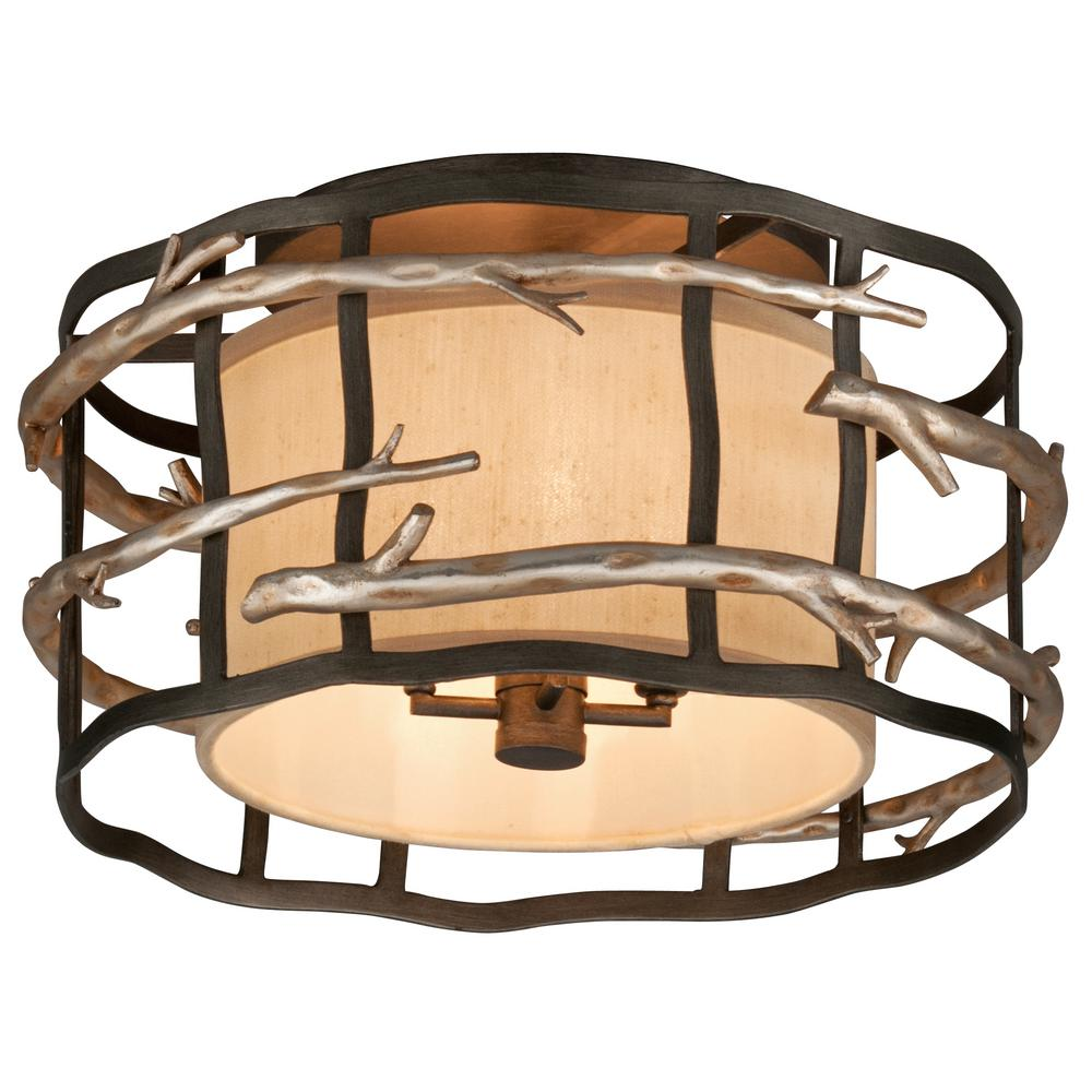 Troy Lighting Adirondack 4 Light Graphite And Silver Leaf Semi Flush Mount
