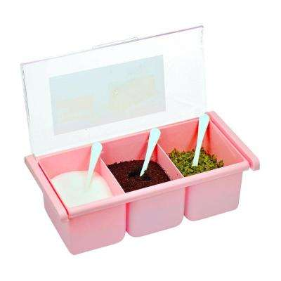 3-Compartment Pink Acrylic Seasoning Box