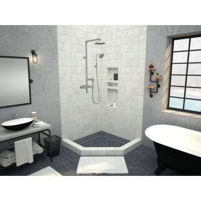 Redi Neo 38 in. x 38 in. Neo-Angle Corner Shower Base with Back Drain and Tileable Grate