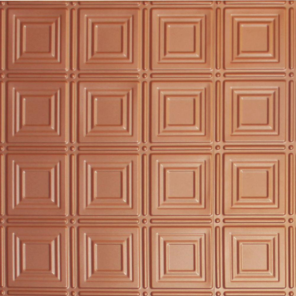 Global Specialty Products Dimensions 2 ft. x 2 ft. Copper Lay-in Tin Ceiling Tile for T-Grid Systems