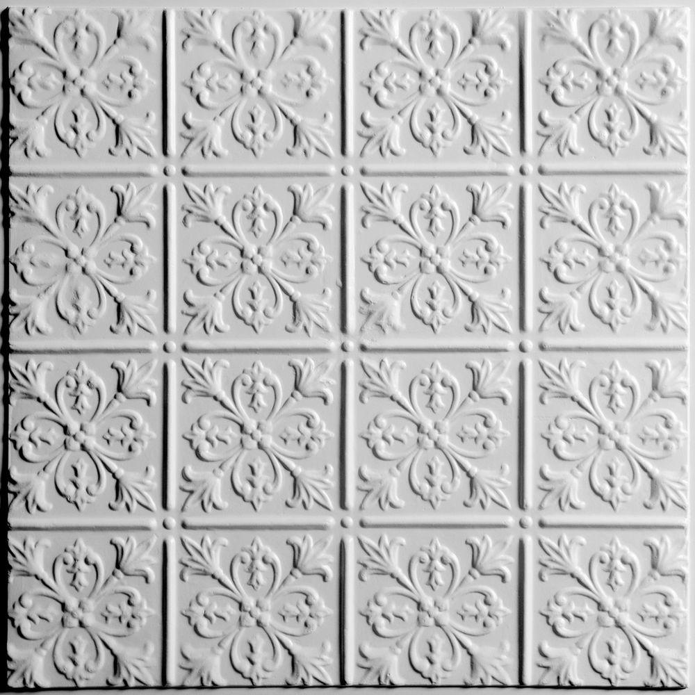 Ceilume Fleur-de-lis White Evaluation Sample, Not suitable for installation - 2 ft. x 2 ft. Lay-in or Glue-up Ceiling Panel
