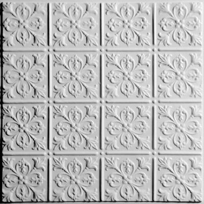 Fleur-de-lis White 2 ft. x 2 ft. Lay-in or Glue-up Ceiling Panel (Case of 6)