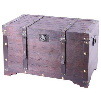 Vintage Large Wooden Storage Trunk with Latch