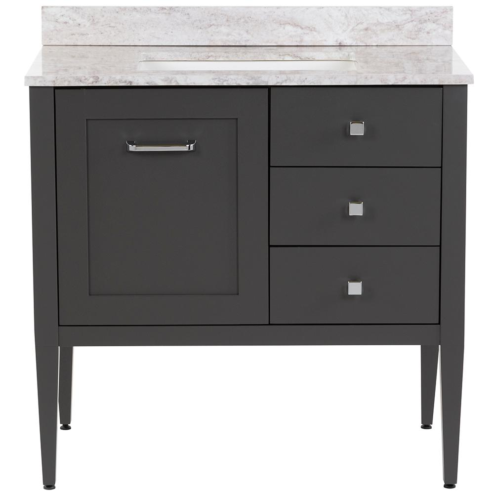 Hensley 37 in. W x 22 in. D Bath Vanity in Shale Gray with Stone Effects Vanity Top in Winter Mist with White Sink