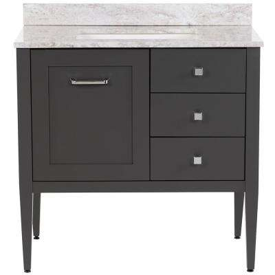 Hensley 37 in. W x 22 in. D Bath Vanity in Shale Gray with Stone Effects Vanity Top in Winter Mist with White Basin