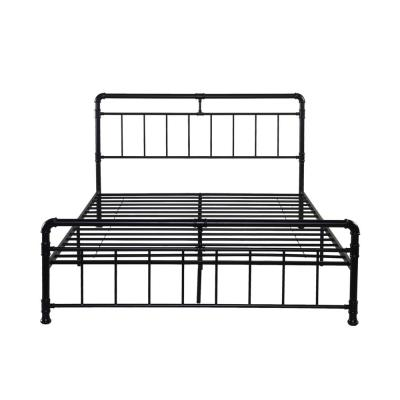Mowry Industrial Queen-Size Flat Black Iron Bed Frame