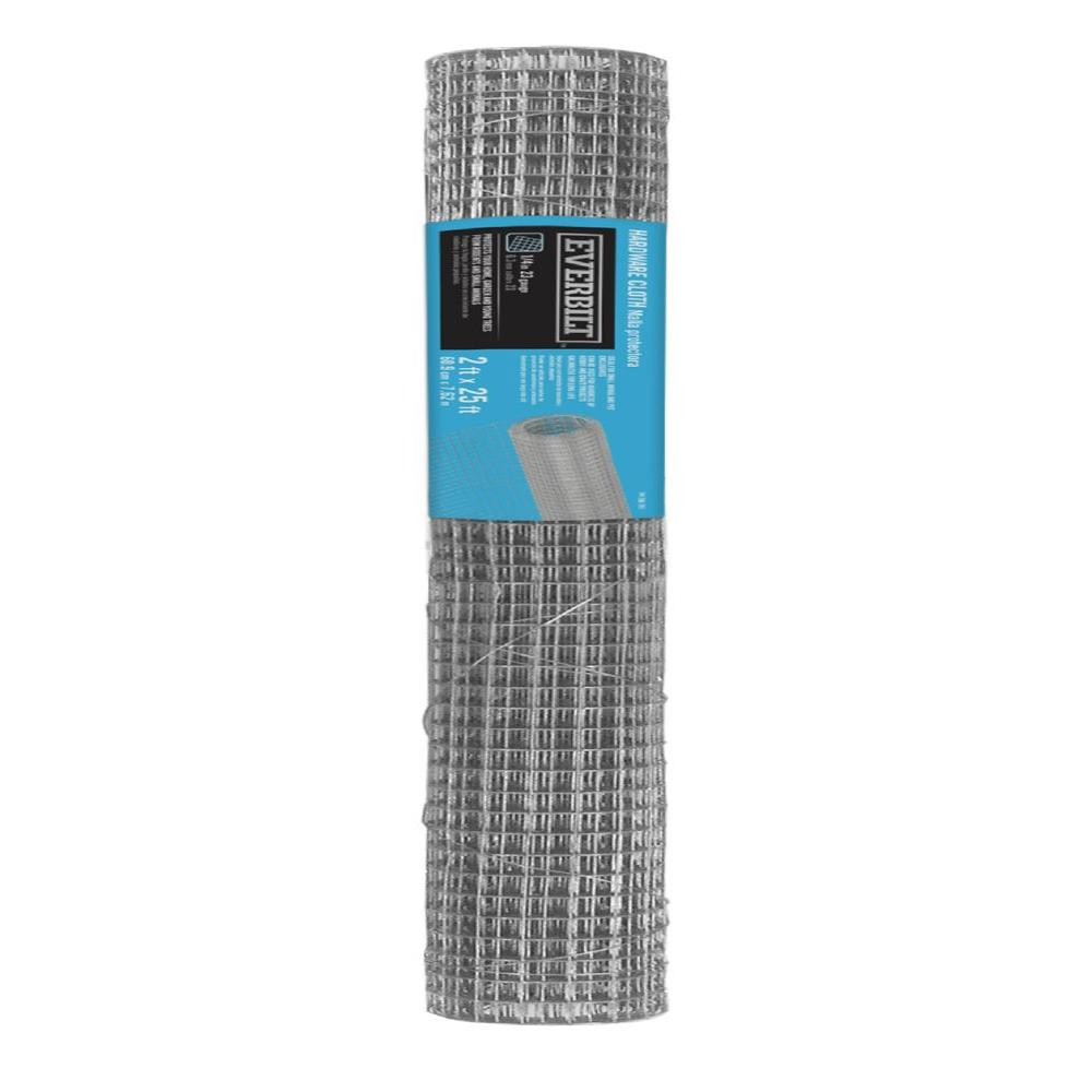 Everbilt 1/4 in. x 2 ft. x 25 ft. 23-Gauge Galvanized Steel Hardware Cloth