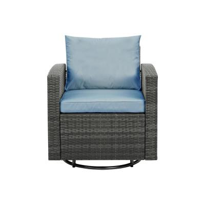 Grey Swivel Wicker Outdoor Lounge Chair with Light Blue Cushions