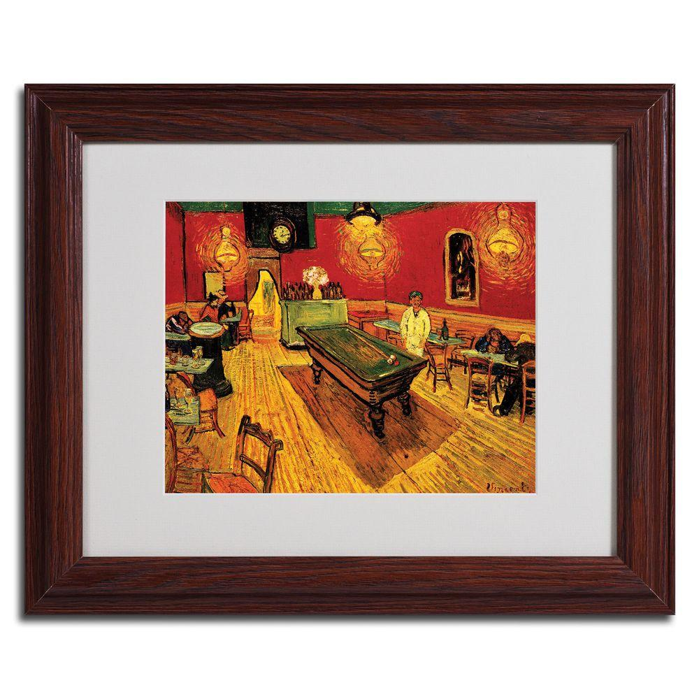 Trademark Fine Art 16 in. x 20 in. Night Cafe Dark Wooden Framed Matted Art