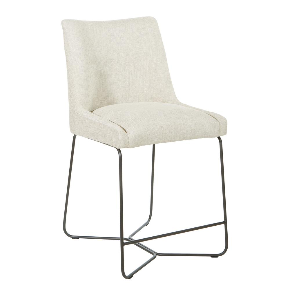 24 in. Harley Series in Wheat Colored Fabric with Metal Legs Bar Stool