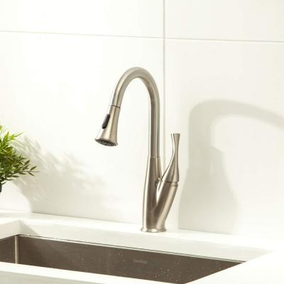Single-Handle Pull-Down Sprayer Kitchen Faucet Brushed Nickel Faucet