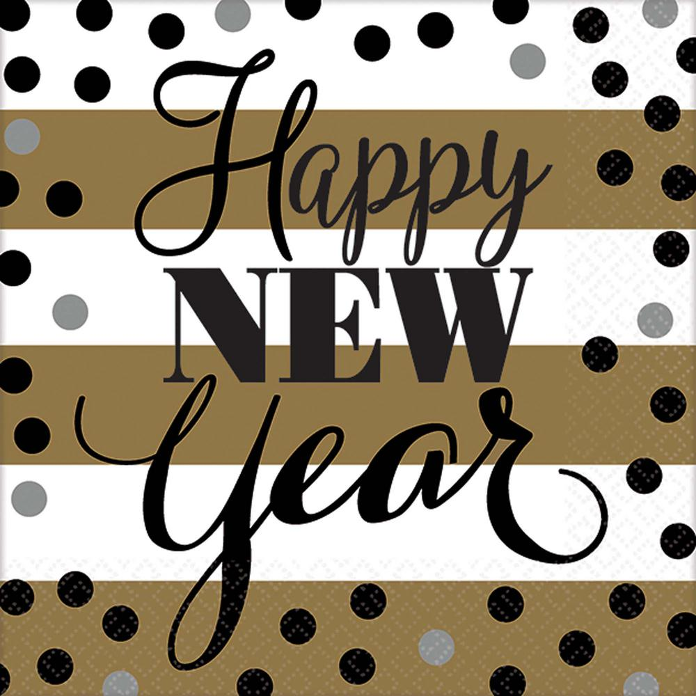 New Year's 5 in. x 5 in. White and Gold Golden New Year B...