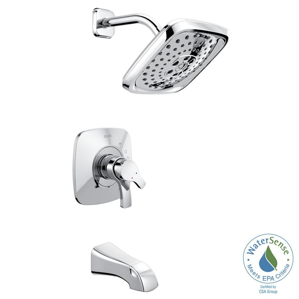 Delta Tesla TempAssure 17T Series Single-Handle Tub and Shower Faucet Trim Kit in Chrome (Grey) (Valve Not Included)