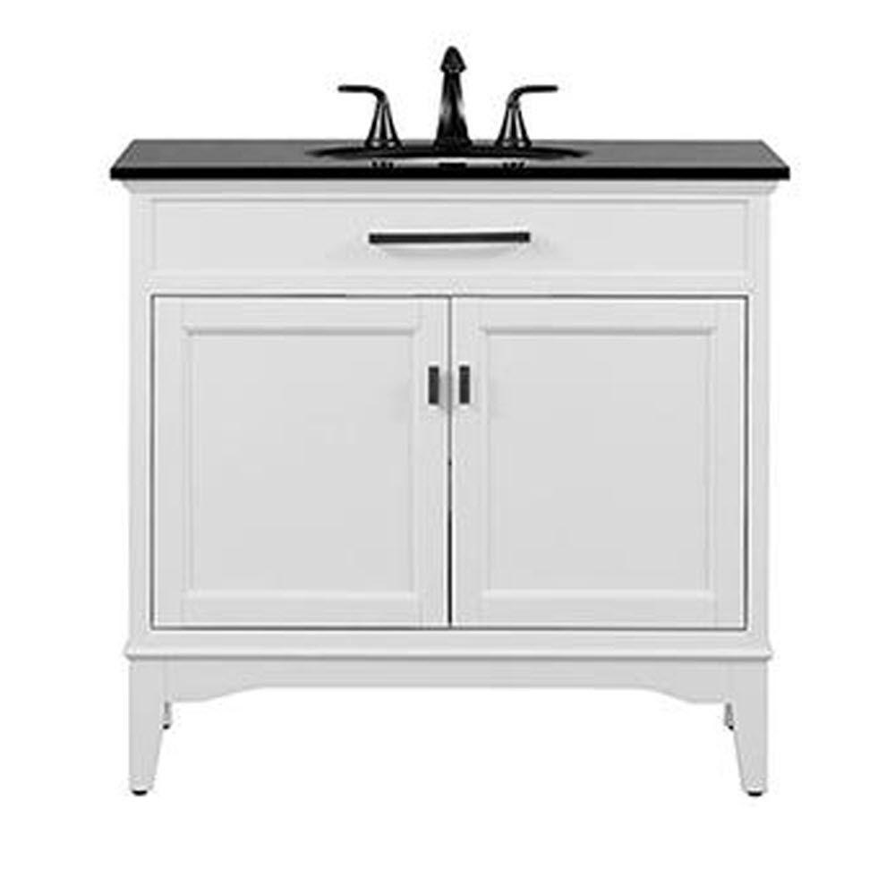 Home Decorators Collection Manor Grove 37 In. W Bath Vanity In White With  Granite Vanity