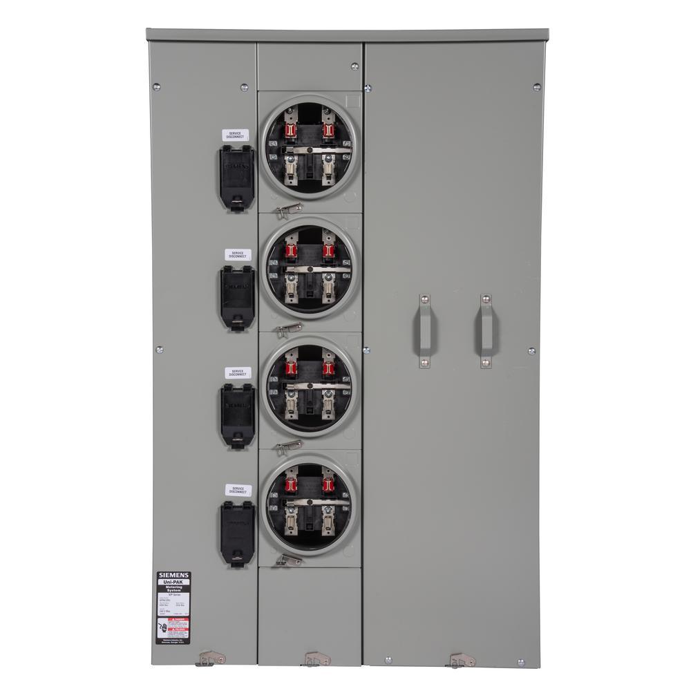 Uni-PAK 4-Gang 600 Amp Ring Style 100kA Multi-Family Metering