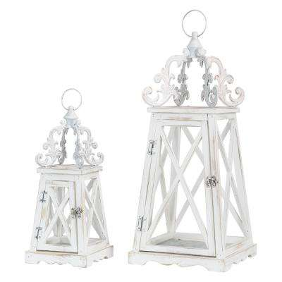 Wash White Farmhouse Modern Wooden Lanterns With 3D Metal Lace Top (Set of 2)