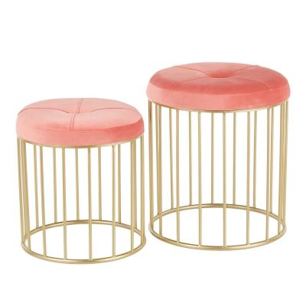 Canary Nesting Pink Velvet and Gold Ottoman Set