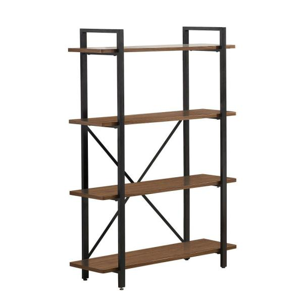52.75 in. Brown Metal 4-shelf Standard Bookcase with Open Back