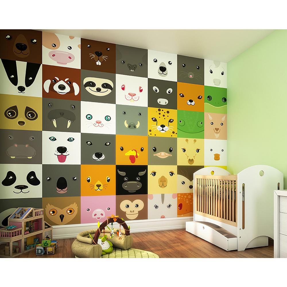 OhPopsi Animal Faces Wall Mural-WALS0345 - The Home Depot