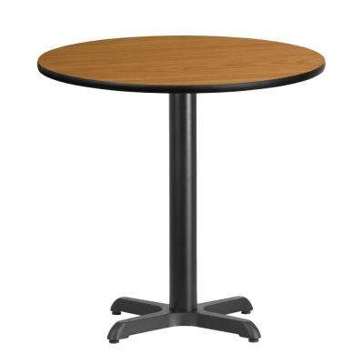 30 in. Round Black and Natural Laminate Table Top with 22 in. x 22 in. Table Height Base